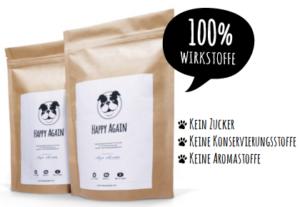 ein zertifiziertes Ergänzungsfuttermittel für Hunde Happy Again